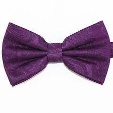 New Men's BUTTERFLY Design Dark Purple Eggplant Pre-tied Bow tie Prom Wedding