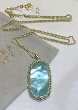 "Kendra Scott Macrame Reid Gold 30"" Long Pendant Necklace Aqua Illusion Dustbag"