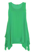 NEW WOMEN'S HANKY HEM TOP GATHERED LADIES VEST  FLARED SWING DRESS TOP SIZE 8-26