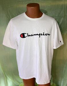 Vintage Champion Script Logo White T-shirt Men's XL