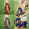 Fashion Women Pregnant Maternity Short Sleeve Summer Floral Printed Party Dress