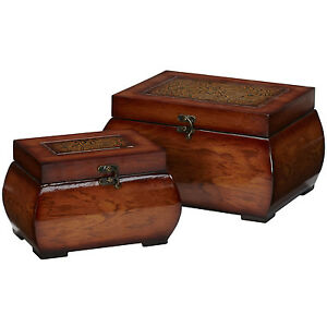Household Accessories Decorative Lacquered Wood Chests Accent Pieces