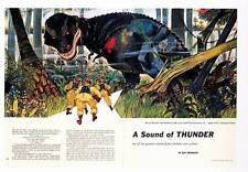 """RAY BRADBURY """"A Sound of Thunder"""" in PLAYBOY June 1956, Double-page color illo"""