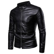 Men Long sleeve Faux Leather Jacket Slim Fit Motorcycle Outdoor Biker Occident L