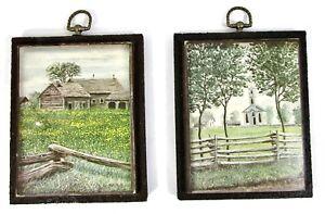 VTG Art Signed Bruce K Mitchell Virginia Americana Folk Barn Country Church SET