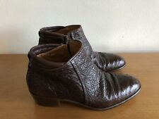 Italian Pupilli - Brown Ostrich Leather Boots Shoes - Rare Made in Italy - EU 41