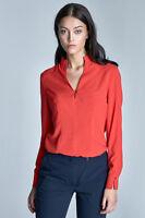 Haut blouse femme col mao orange manches longue décolleté-V mode NIFE B65 XL 42