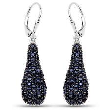 Drop Earrings w/ 3.42 ct Genuine Blue Sapphire 925 Sterling Silver Drop Earrings