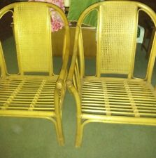 Rattan high back Tropical Sun-Room Chinoiserie 2-Chairs California local pivkup