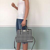 NEW! KATE SPADE Black White Saffiano PVC Leather Satchel Tote Shoulder Bag Purse