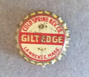 Vtg 1930? Lawrence, MA, Cold Spring Beverage Gilt Edge bottle cap, unused