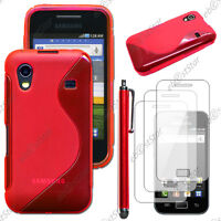 Housse Etui Coque Silicone Rouge Samsung Galaxy Ace S5830 + Stylet + 3 Films