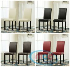 More details for 2 x  faux leather dining chairs with solid wooden legs home & restaurants