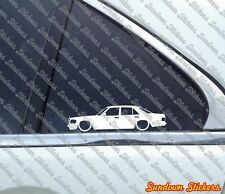 2x Lowered classic car stickers - for Mercedes W126 Sedan 500 SE 560 SE 380 420