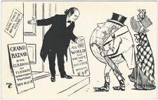 English 1900s Political Satire Postcard of Top-Hatted Globe British Cartoon
