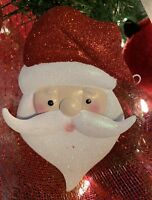 "Christmas Flat Metal Santa Ornament with a Hook 6"""