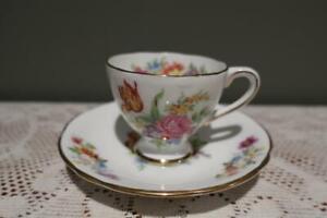 Vintage Gladstone & Stafford Bone China Demitasse Duo - Floral - Gilt Trim - Vgc