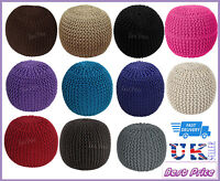 LARGE ROUND FOOTSTOOL MOROCCAN CUSHION HANDMADE COTTON CHUNKY KNITTED POUFE 50cm
