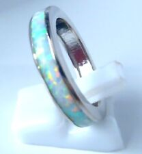 STUNNING SIMPLE FIRE & ICE WHITE FIRE OPAL RING   UK SIZE  P