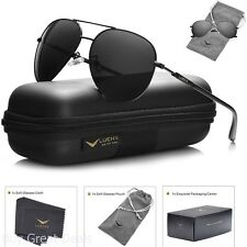 Mens Sunglasses Aviator Polarized Black Luenx Sun Glasses Dark 60mm With Case