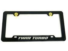 TWIN TURBO CARBON FIBER LOOK LICENSE PLATE FRAME W/ 2 GOLD WASHERS & BOLTS