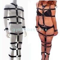 Full Body Harness Straps Bondage Belts Pu Leather  Mummy Restraints Cuffs SM Toy