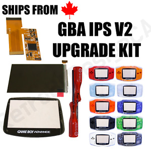 IPS V2 LCD Screen Pre-Cut Shell Upgrade Kit for GBA 32Pin/40Pin w/Glass Lens