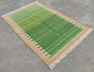 Cotton Flatweave Rug 4x6 Living Room Dhurrie Handwoven Striped Cotton Area Rug