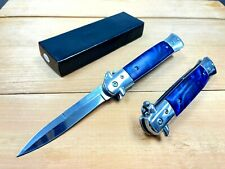 "9"" Blue Italian Milano Stiletto Spring Assisted Folding Pocket Knife. Survival"