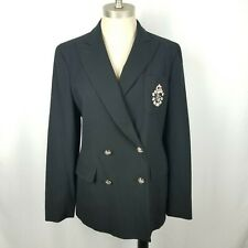 Ralph Lauren LRL Crest Logo Navy Wool Double Breasted Blazer Jacket Women's Sz 4