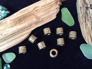 Viking Dread Beard Beads 8 x Celtic Spiral Bronze Tone 5mm Hole Hair Braid Uk
