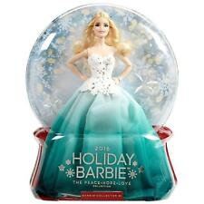 Barbie 2016 Holiday Blonde Doll Winter Collector Edition Snow Globe Mattel