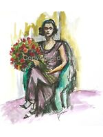 Ink & watercolour original art Woman with flowers painting Home decor wall art