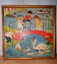 Vintage Wooden 25 piece Jigsaw in Wooden surrond.
