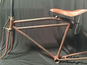 Reproduction Real Leather Prewar tank motor bike long spring saddle seat