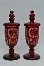 PAIR OF 19 CENTURY RUBY RED BOHEMIAN CUT ENGRAVED GLASS VASES