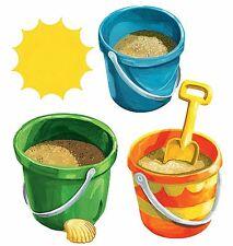Summer Fun Sun Sand Sea Shell Beach Buckets 25 Wallies Tropical Decals Stickers