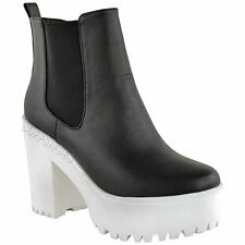 NEW WOMENS LADIES CHUNKY CLEATED SOLE HIGH HEEL PLATFORM ANKLE BOOTS SHOES SIZE