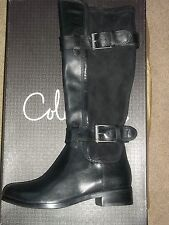 Cole Haan AIR WHITLEY Ultra Suede Buckle Strap BLACK Leather Boots 6B New