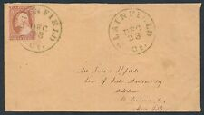 #10A ON COVER W/ GREEN PLAINFIELD,CT 12/23/1851 CANCEL CV $435 BR4349