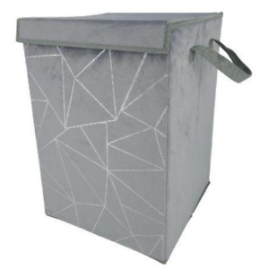 FabFinds Velvet Laundry Basket Flat Foldable Storage Bin Bag with Handle Large
