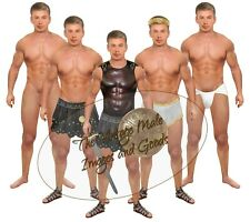 Anatomically Correct Blond Gladiator Paper Doll Muscle Leather Body Armor