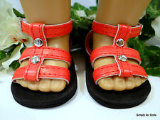 """RED w/ Silver Studs DOLL SANDALS SHOES fits 18"""" AMERICAN GIRL Doll Clothes C/Z"""
