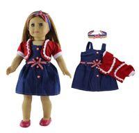 "Doll Clothes 18"" Dress Jean Sweater Headband Multi 1950 Fits American Girl Dolls"