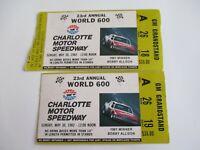 VTG Charlotte 1982 WORLD 600 Nascar 2 Ticket Stubs NEIL BONNETT Race Winner
