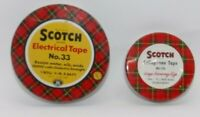2 Vtg Scotch Brand Electrical Tape No33 Cellophane No175 Tin Container Cans 3M