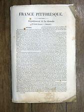 HUGO France Pittoresque GIRONDE 1835 Avec carte & 5 gravures GUYENNE Bordelais