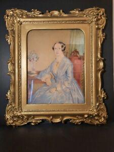 Original Antique, 1853, Watercolour painting, Signed. Original gilded frame
