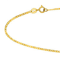 """10k Solid Yellow Gold 1.2 mm Mariner Chain Anklet 10"""""""