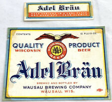 Vintage Axel Brau Beer Bottle Can Label Wausau Wisconsin 12oz Neckband Eagle